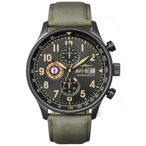 Montre AVI-8 H Hawker Hurricane cuir gris