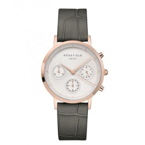 Montre The Gabby Blanc Croco Gris Rose Doré - ROSEFIELD