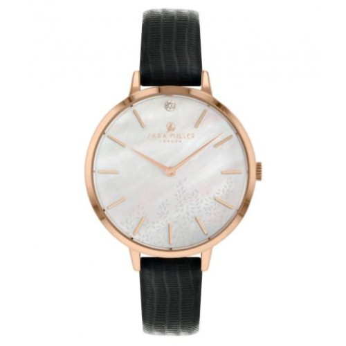 Montre collection Diamant en cuir noir de SARA MILLER